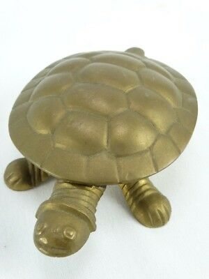 Interesting Figural cast brass Turtle Box with hinged Lid maker Unknown