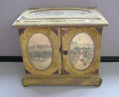 Victorian Cadbury's Chocolate Box - Velvet Covered 7 Drawer Casket With 3 Images