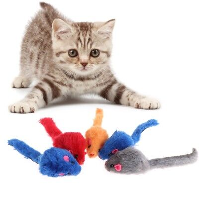 5 Pcs Cat Toys False Mouse Plush Soft Colorful Kitten Pets Funny Squeaky Playing