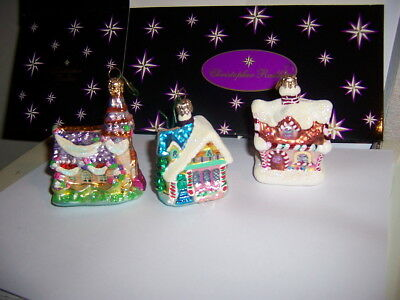 Christopher Radko Candy cottage Christmas tree Houses and Church 3 pc lot perfec