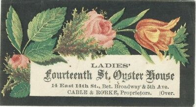1800s Ladies 14th St Oyster House Restaurant Trade Business Card New York City