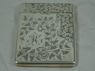 STUNNING VICTORIAN solid  silver CARD CASE, 1892, 79gm