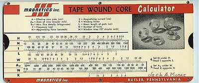 1950s Perrygraf-like chart MAGNETICS INC., Butler Pennsylvania Tape Wound Core