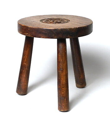 Attractive Antique Vintage Harry Tonkin Cornwall Cornish Carved Oak Wooden Stool