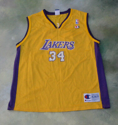 Champion NBA Los Angeles Lakers Shaquille O Neal  34 Jersey Size Youth XL 18 65ac70161