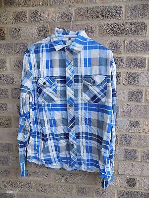 Vintage blue white & grey plaid check flannel shirt slim fit