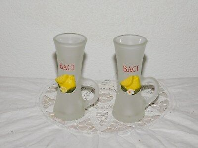 Baci de Limone 3D Lemon Limoncello Frosted Tall 2oz Handle Shot Glasses Set Of 2