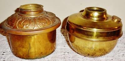 Antique Pair of Brass Drop In and Hanging Lamp Fonts not Signed Parts or Repair