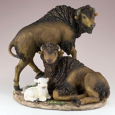 """Bison Buffalo Family With White Calf Figurine Statue 7"""" High Resin New In Box!"""