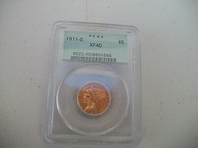 1911S $5.00 Indian Head $5.00 Gold Coin Pcgs Xf-40