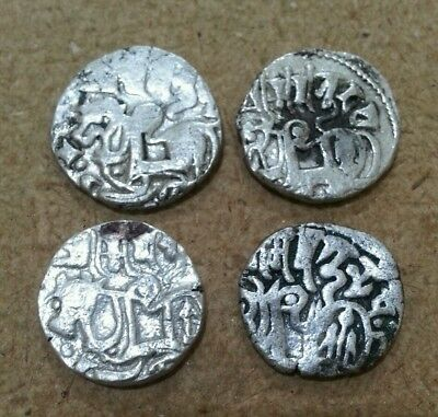 Afghanistan India Hindu Shahi Lot Of 4 Silver Coins Man On Horse Gandhara