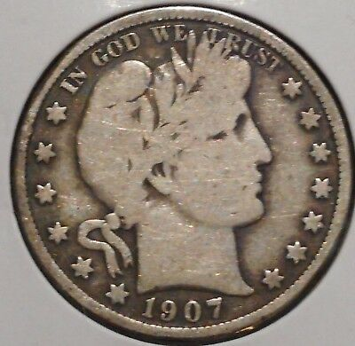 Barber Half - 1907 - Historic Silver! - $1 Unlimited Shipping