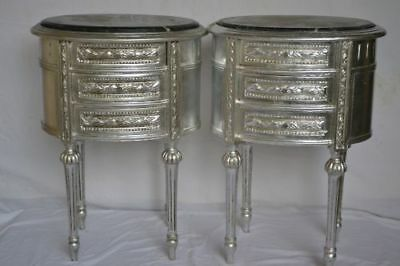 Pair of silver nightstands - Baroque style -