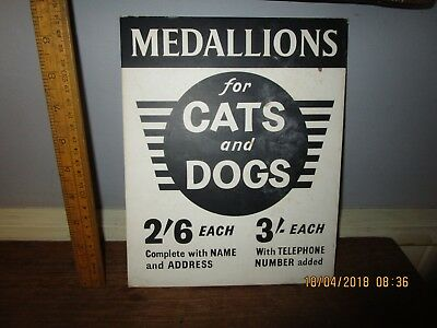 Vintage / Retro Shop point of Sale advertising card for Cat / Dog Collar tags