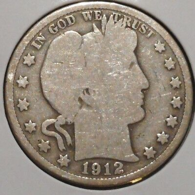 Barber Half - 1912 - Historic Silver! - $1 Unlimited Shipping