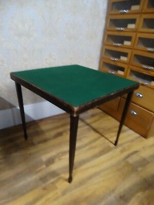 super antique early 20thC French folding card games table with Green Baise