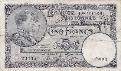 5 Francs Vg-Fine Banknote From Belgium 1938!pick-108