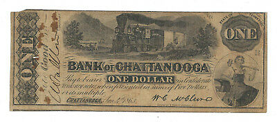 1863 BANK OF CHATTANOOGA, TENNESSEE, 1 DOLLAR NOTE, 1/4/1863, TN10-G34b, FINE