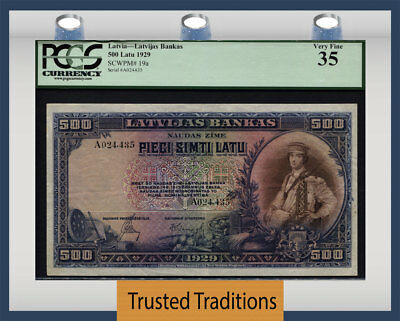 "TT PK 19a 1929 LATVIA 500 LATU ""BEAUTIFUL PIECE OF ART WORK"" PCGS 35 VERY FINE!"
