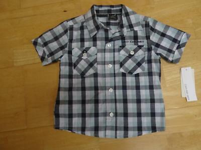 CALVIN KLEIN JEANS baby boys green navy check short sleeve shirt AGE 9-12 MONTHS