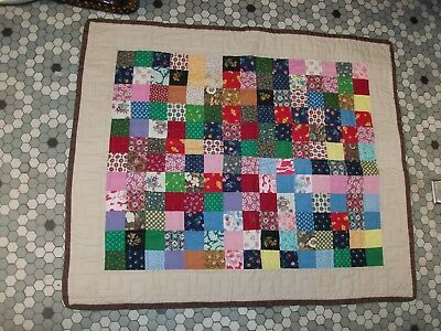 Small All Cotton Hand Stitched Quilt - Wall / Lap / Crib Size
