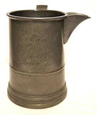 Early Edwardian Pewter Side Spout Quart Jug : C. Mardell, Crown, Shoreditch