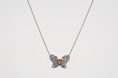 "$500 1.80Ct Natural Yellow, Blue & Pink Sapphire Cluster ""butterfly"" Necklace"