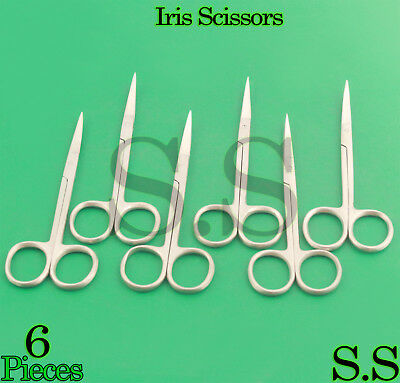 "6 Iris Scissors 4.5"" Curved Surgical Dental Instruments"