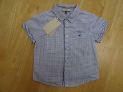 ARMANI JUNIOR BABY boys white blue pattern short sleeve shirt AGE 18-24 MONTHS