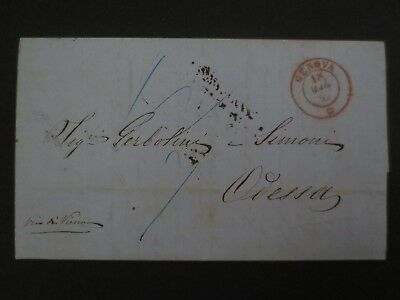 Old Italian State Sardinia 1852 stampless cover to Odessa Russia scarce destinat