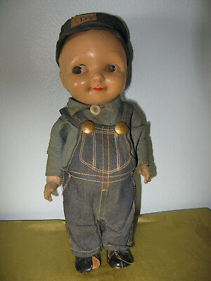 Antique Buddy Lee Composition Doll Union Made Denim Bibs And Shirt