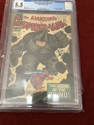 Amazing Spider-Man #41 CGC 5.5 OW-W Pages 1st Appearance Of The Rhino