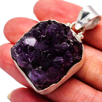 "Amethyst Crystal 925 Sterling Silver Pendant 1 3/4"" Ana Co Jewelry P631213"
