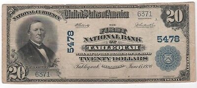 Series 1902 $20 The First National Bank of Tahlequah Oklahoma #5478 ca 1920 VF