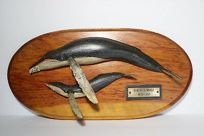 Nice VINTAGE FOLK ART HUMPBACK WHALE & CALF WALL PLAQUE MODEL Half Hull SIGNED