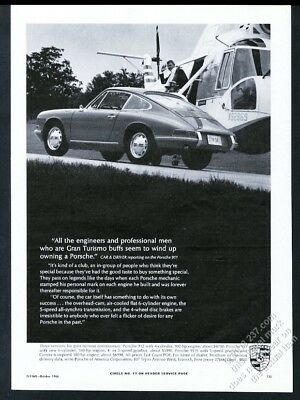 1967 Porsche 911 S 911S car and helicopter photo vintage print ad