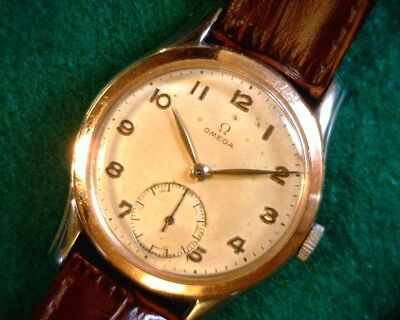 Large 36Mm Vintage (1949) Omega Two Tone 18K Rose Gold & Stainless -Stunning !!