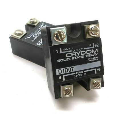 Lot of 2 Crydom D1D07 Solid-State Relay, Control: 3.5-32VDC, Output: 100VDC 7A
