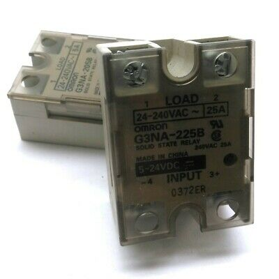 Lot of 2 Omron G3NA-205B Solid-State Relay Control: 5-24VDC Output: 24-240VAC 5A
