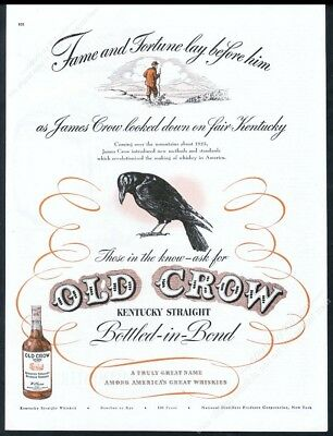 1946 Old Crow Bourbon Whiskey black bird James Crow art vintage print ad