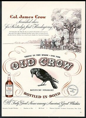 1947 Old Crow Bourbon Whiskey black bird Col James Crow art vintage print ad