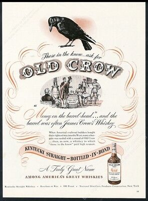 1947 Old Crow Bourbon Whiskey black bird money on barrel head vintage print ad