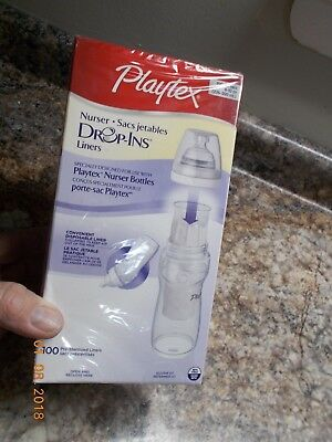 Sealed Box of 100 8-10 Oz. Playtex Drop-Ins Disposable Liners for Nurser Bottles