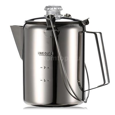 Coffee Pot Outdoor 9 Cup Stainless Steel Camping Percolator Coffee Maker AU Z7U9