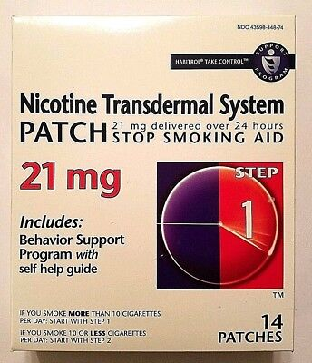 New Habitrol Nicotine Patches, 21mg, Exp 06/2019, 14 Patches, 2-week kit, Step 1