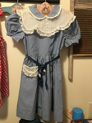 Vintage Girl's Blue Dress With Lace Collar 1940's Estate Find