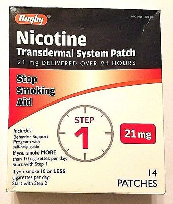 New Rugby Nicotine Patches, 21mg, Exp 07/2019, 14 Patches, 2-week kit, Step 1