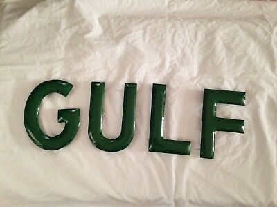 1940's Vintage Green 8 Inch Porcelain Gas Station Letters- Gulf