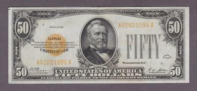 1928 $50 High Grade Beautiful Gold Certificate!