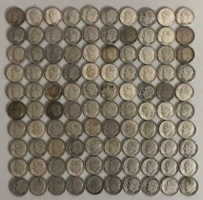 100 Roosevelt Dimes - $10.00 Face - 90% Silver Content - All Pre-1965